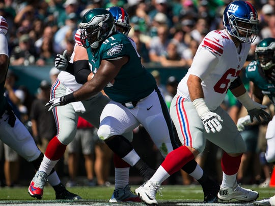 Eagles defensive tackle Fletcher Cox fights through the Giants offensive line during their September game at Lincoln Financial Field.