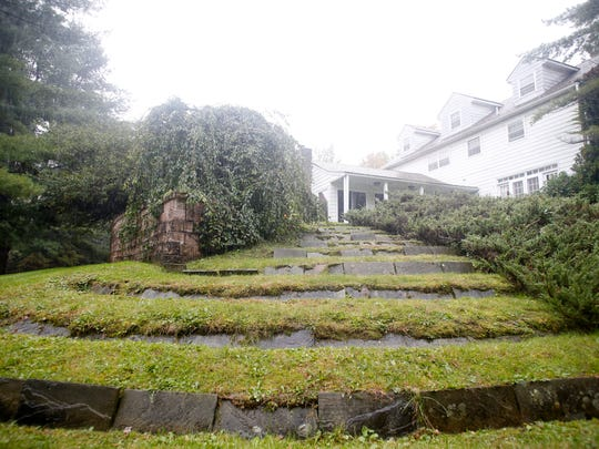 A grass and stone staircase at the home of Earl Butler in Vestal on Thursday September 14, 2017.