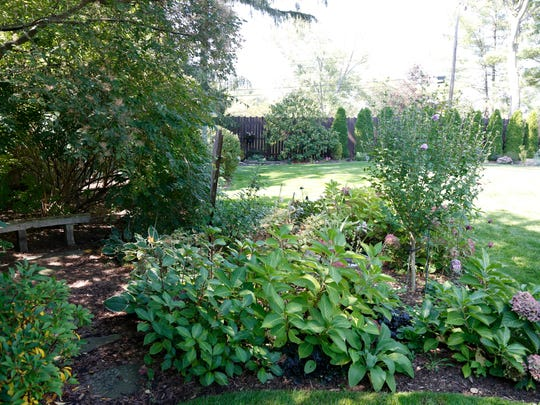The shade garden at the home of John Welch and Joe Menichello, of Binghamton on Monday September 18, 2017.