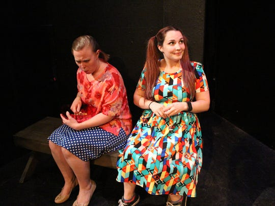 "Ashley Pulliam (left) plays Clara and JoAnn Burke-Maestas plays Sheila in Angelo Civic Theatre's ""The Boys Next Door."""