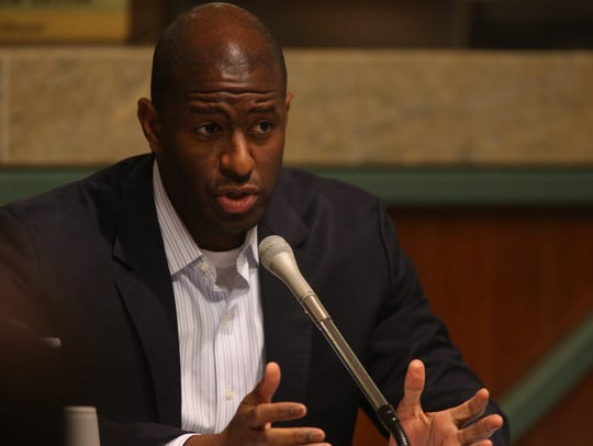 Mayor Andrew Gillum at the CRA meeting held Monday,