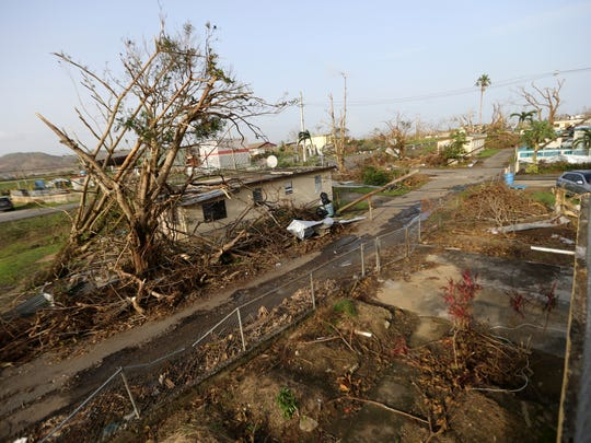 Destruction from Hurricane Maria in Yabucoa, Puerto Rico, Tuesday, Sept. 26, 2017.