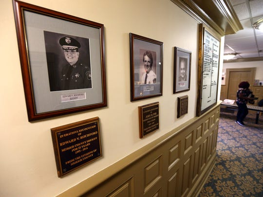 A new plaque hangs in the Morris County courthouse thanking former Sheriff Edward Rochford for his service to the county. October 3, 2017, Morristown, NJ