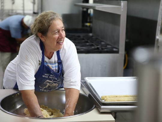Olibia Coumanis Drzewiecki kneads dough for Paximadia
