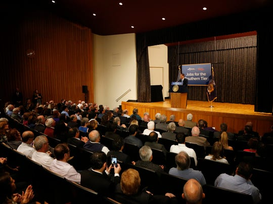 Governor Andrew Cuomo speaks during Wednesday's announcement that a consortium of companies, including Charge C4V will begin production of lithium ion batteries at the former IBM Huron Campus in Endicott on October 4, 2017.