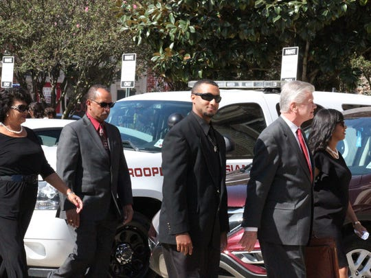 Norris Greenhouse Jr. (center) walks into the Avoyelles Parish Courthouse on Wednesday for his sentencing hearing. He was sentenced to seven-and-a-half years in prison for the Nov. 3, 2015, shooting that killed 6-year-old Jeremy Mardis.