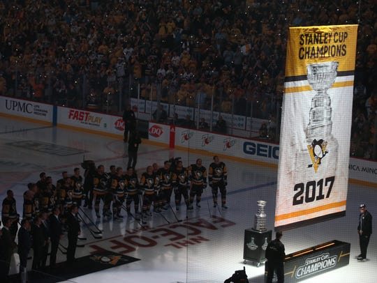The Penguins raised their latest Stanley Cup championship