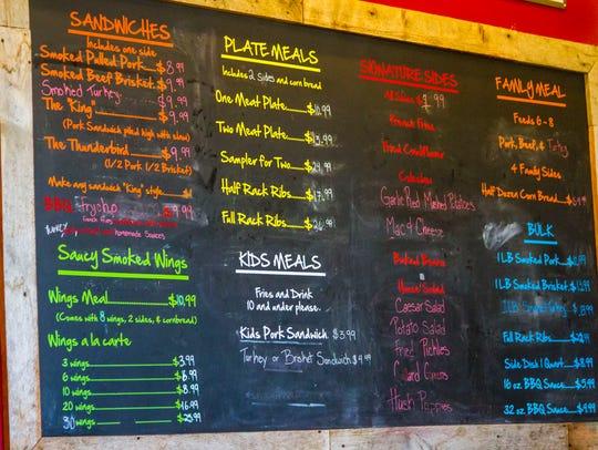 The menu at Charlie's Southern Barbecue, 126 N Main