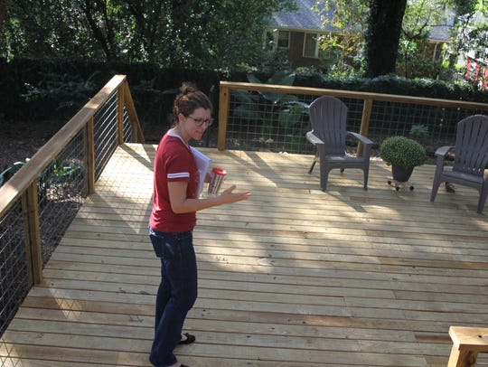 Leon County Commissioner Kristin Dozier shows the deck
