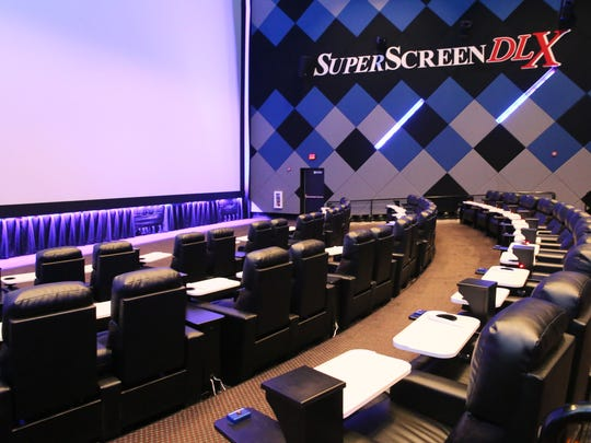 All seats at BistroPlex are recliners with tray tables and call buttons; the recliners in the auditorium with the supersized SuperScreen DLX have heaters.
