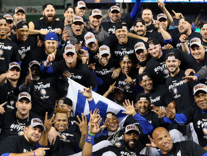 NLDS Game 5: Cubs at Nationals - The Cubs celebrate