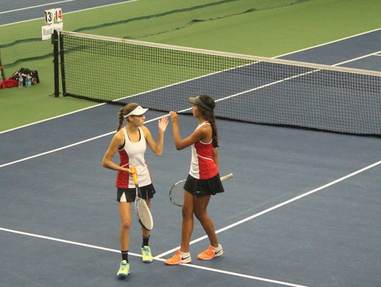 Muskego No. 2 doubles unit Erin Brezovar (left) and
