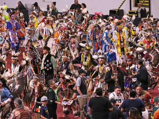Dancers join in the Grand Entry at the 2016 Hunting