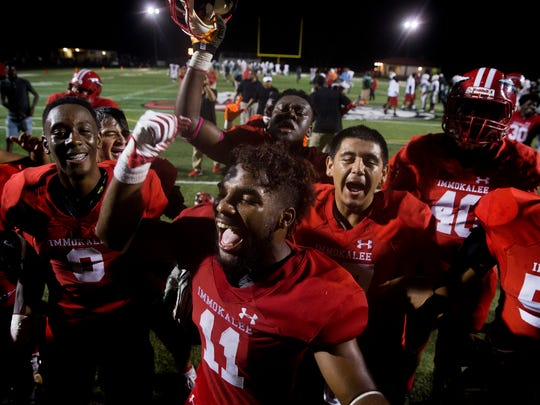 After a tightly contested District 12 matchup that came down to the final minutes Immokalee defeated Dunbar 30-23 Tuesday, October 17, 2017 in Immokalee, Fla.