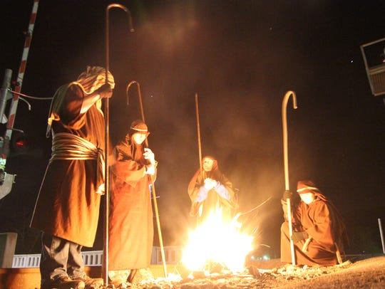 Participants portraying shepherds in the 2015 Christmas