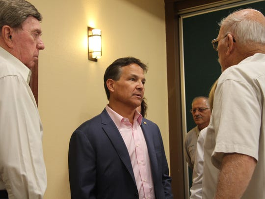 Governor candidate Jeff Apodaca (D) speak with attendees in Carlsbad for his campaign APO Tour Monday, Oct. 23, 2017.