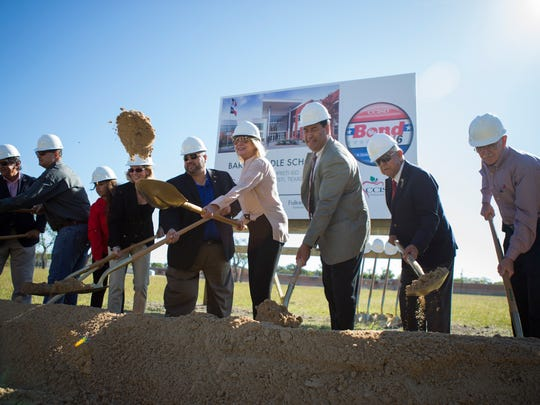 CCISD officials break ground on the future site of Marvin Baker Middle School during a ceremony on Tuesday, Oct. 24, 2017.