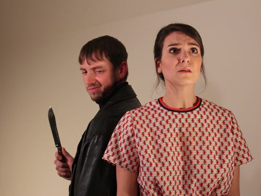 Darrick Bruns (left) as Harry Roat and Emily Guillemette as Susy Hendrix in The Masquers' production of 'Wait Until Dark.'