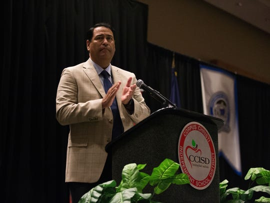 CCISD Superintendent Roland Hernandez speaks during