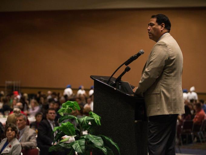 CCISD Superintendent Roland Hernandez speaks during