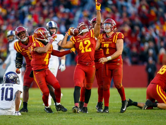 Iowa State Cyclones linebacker Marcel Spears Jr. (42) celebrates after an interception to give ISU the ball for good in the final seconds against TCU at Jack Trice Stadium Saturday, Oct. 26, 2017, in Ames, Iowa.  ISU defeated TCU 14-7.