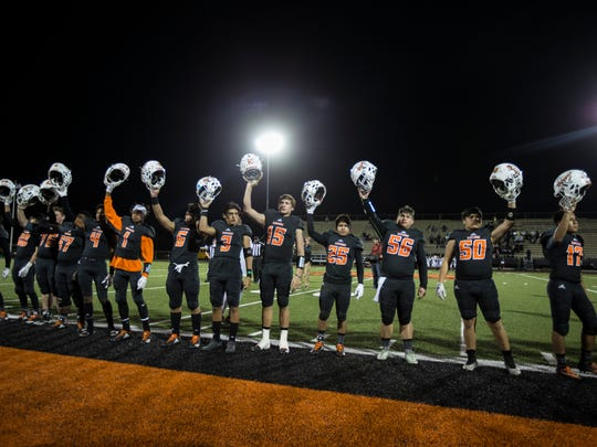 Refugio players are greeted with cheers as they take the field during their game against Kenedy on Friday, Oct. 27, 2017, Bobcat Stadium.