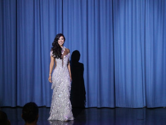 Myana Welch shines in her evening gown before being