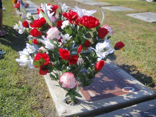 Estela and Eliceo Jimenez's daughter's grave at Garden of memories.
