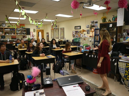 English teacher Sarah Walker interacts with her students on Wednesday, Nov. 1, 2017, at Tuloso-Midway High School. She was one of 17 teachers who won the Outstanding Teacher of the Humanities Award from Humanities Texas this year.
