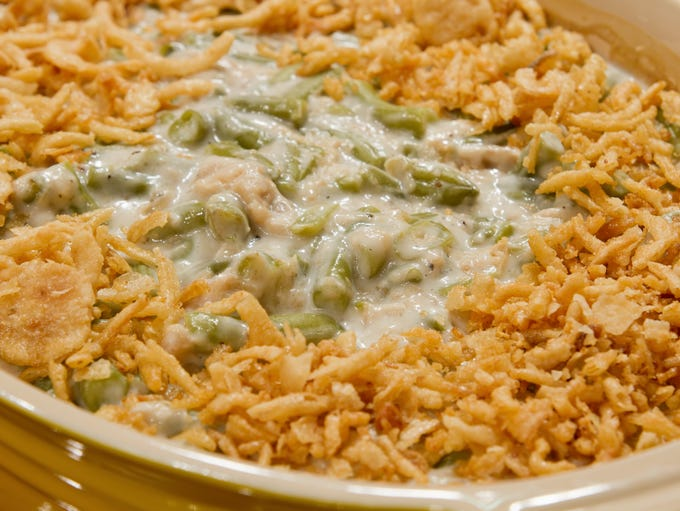 French cut string beans with fried onions casserole.