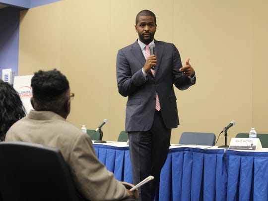 """Bakari Sellers, national political analyst and attorney, moderated the """"Tallahassee Forward"""" panel discussion Wednesday night. He opened the evening asking the audience these two questions: 'How far have we come?' and 'Where do we go from here?' referencing anecdotes of political and racial division."""