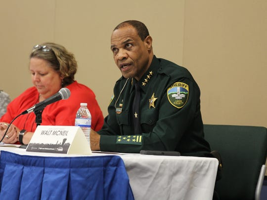 """Sheriff Walt McNeil was a panelist at Thursday night's discussion """"Tallahassee Forward."""" Answering a question about how to combat Tallahassee's highest crime rate in the state, McNeil referenced the Leon County Detention Facility's efforts to reduce recidivism and help mentally ill inmates."""