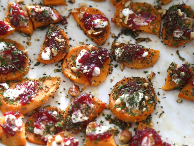 Cranberry sweet potato rounds and butternut squash