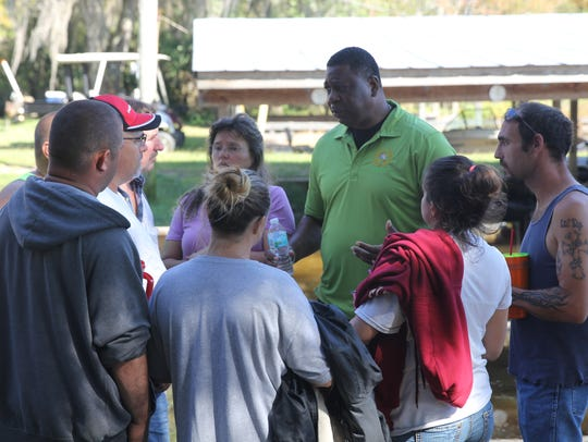 Gadsden County Sheriff Morris Young talks with the