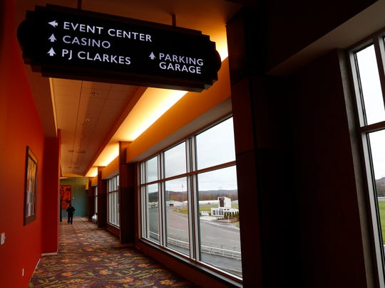 A corridor at the Hotel at Tioga Downs which connects