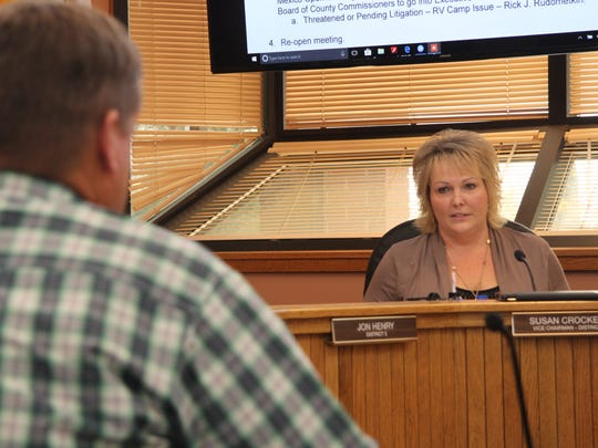 Eddy County Commissioner Vice Chair Susan Crockett speaks at a special meeting Tuesday, Nov. 7, 2017. Crockett made a motion to table the ordinance, which received a 3 to 2 vote.