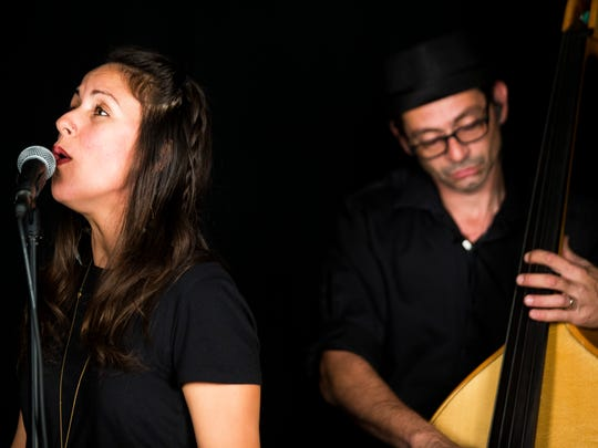 Vocalist Christina Ortega and upright bassist Julio Pintos perform with The Woodwork in the Naples Daily News studio on Thursday, Nov. 2, 2017.