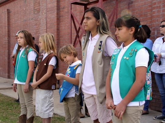 Deming Girl Scout Troop 224 led the Veterans Day audience in the Pledge of Allegiance.