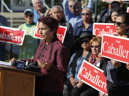 Assemblywoman Anna Caballero announcing her candidacy at city hall.