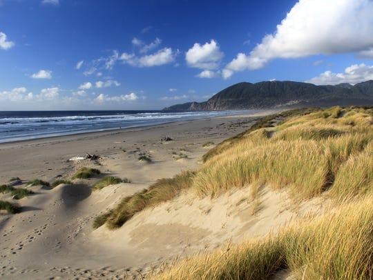 Oregon Coast beach at Nehalem Bay State Park.