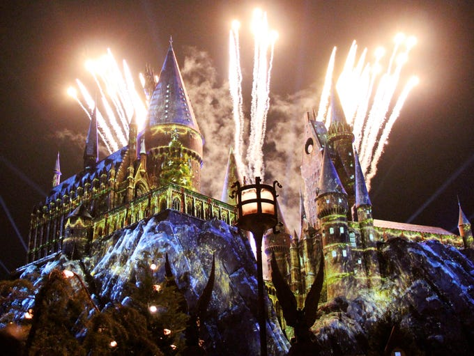 Hogwarts Castle is illuminated in a dazzling display