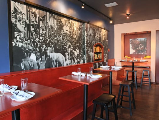 In the Diplomat's bar, an oversized photo on a wall