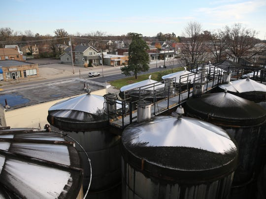 A view looking southwest over the stainless steel storage tanks, Tuesday, Nov. 21, 2017, at Meier's Winery in Silverton, Ohio.
