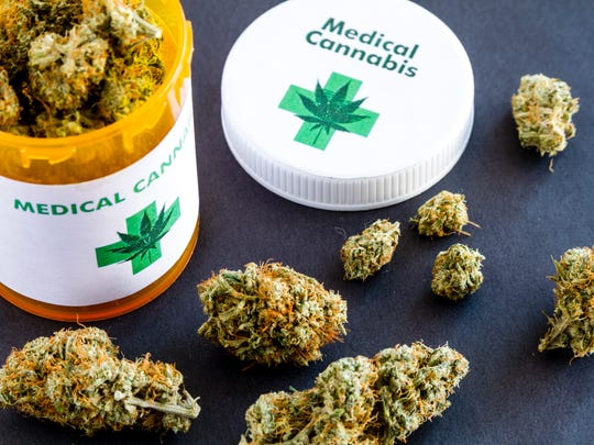 Medical marijuana buds in large prescription bottle