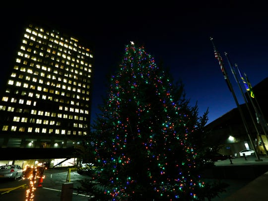 The holiday tree in Government Plaza in the City of
