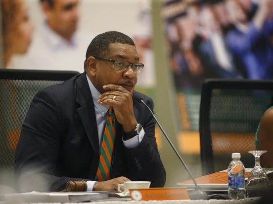 FAMU Board of Trustees Chairman Kelvin Lawson listens on during a meeting on the university's campus on June 10.