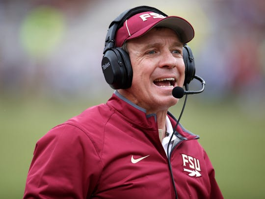 Head Coach Jimbo Fisher yells out to his team as the