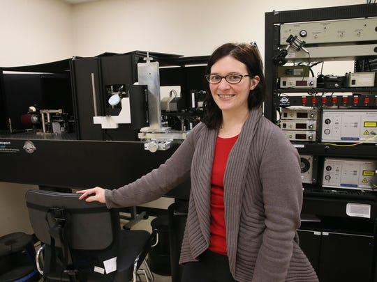 Rachel Linderman, a graduate student doing research at the Medical College of Wisconsin, is shown with an adaptive optic scanning laser ophthalmoscope at the Advanced Ocular Imaging Program at the Froedtert Eye Institute.