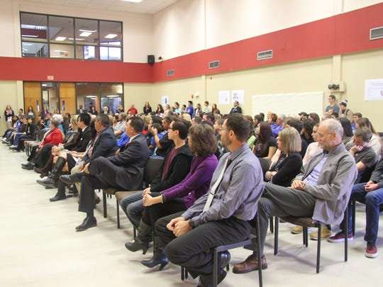 Teachers, administrators, students and parents attended the special presentation by the New Mexico Public Education Department Monday, Dec. 4, 2017.