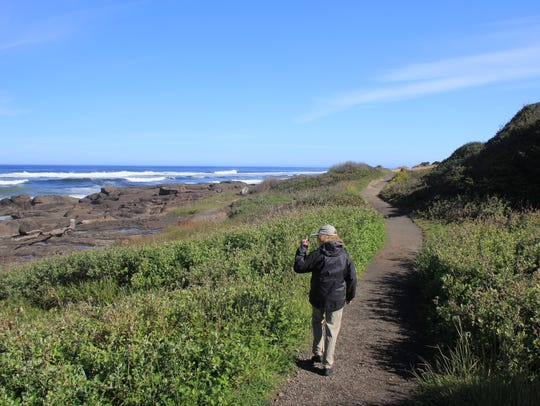 The 804 Trail in Yachats winds along the ocean coast.
